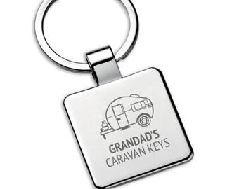 Personalised GRANDAD caravan keyring square metal keychain gift - 5580CVAN3