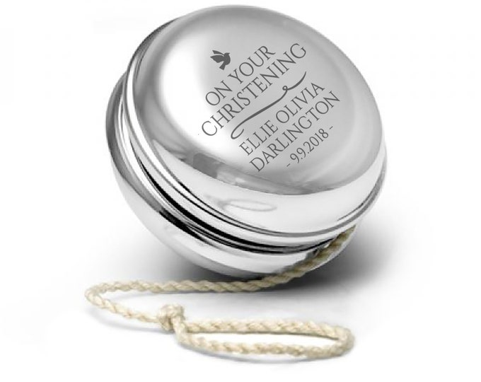 Engraved SILVER PLATED yoyo yo-yo christening, baptism, confirmation personalised gift - YO-CHR1