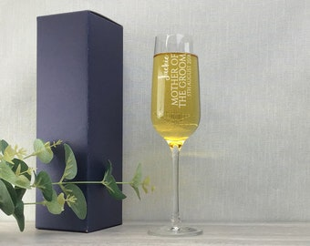 Engraved MOTHER of the GROOM champagne prosecco flute glass gift, personalised wedding crystal wine flute - DHC-BP6