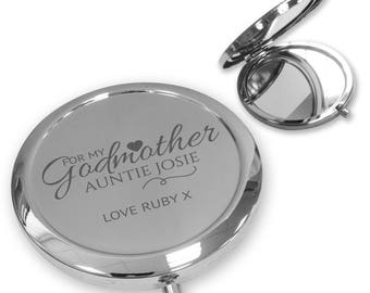 Personalised engraved GODMOTHER christening baptism compact mirror gift, handbag mirror Push button, deluxe - PBGD1