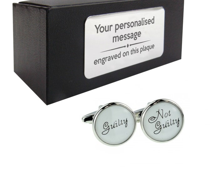 Guilty, not guilty, solicitor, barrister novelty CUFFLINKS birthday gift, presentation box Personalised ENGRAVED customized plate - 221g