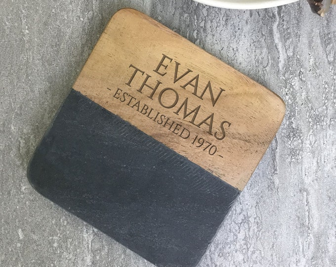Engraved birthday coaster gift, personalised gift idea, stone & wood drinks mat  SCOA-5