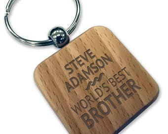 Personalised engraved World's Best BROTHER wood keyring gift, wooden rounded square keyring - WDK5