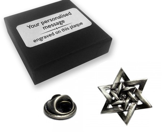 Star of David Jewish lapel pin badge gift, tie pin, brooch accessory, boutonniere - personalised engraved gift box - 388