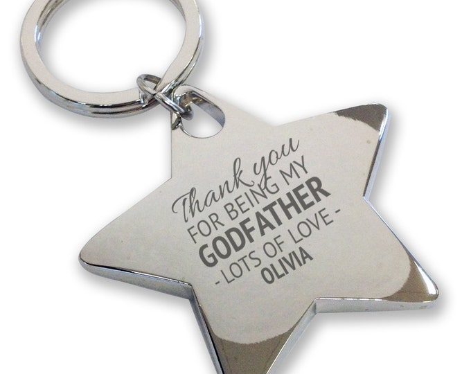 Personalised engraved GODFATHER keyring, christening, baptism, gift, deluxe chunky star keyring - GD1
