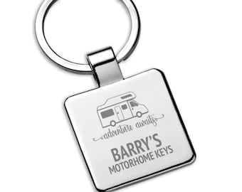 Personalised boyfriend, brother, husband MOTORHOME keyring square metal keychain gift, adventure awaits - 5580MH4