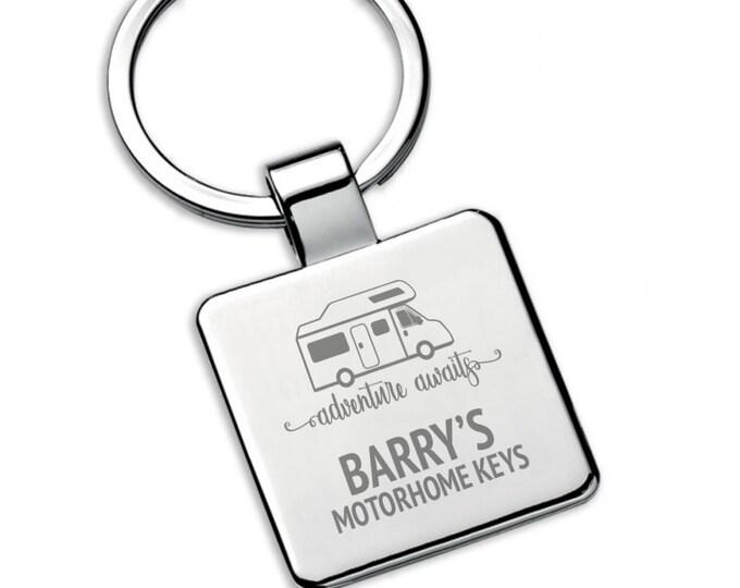 Personalised boyfriend, brother, husband MOTORHOME keyring square metal keychain gift, adventure awaits - 5580MH4