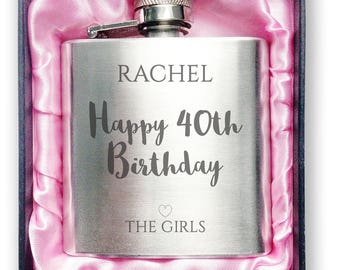 Personalised engraved 40TH BIRTHDAY stainless steel hip flask gift idea, handbag sized in a presentation box - 3SP40