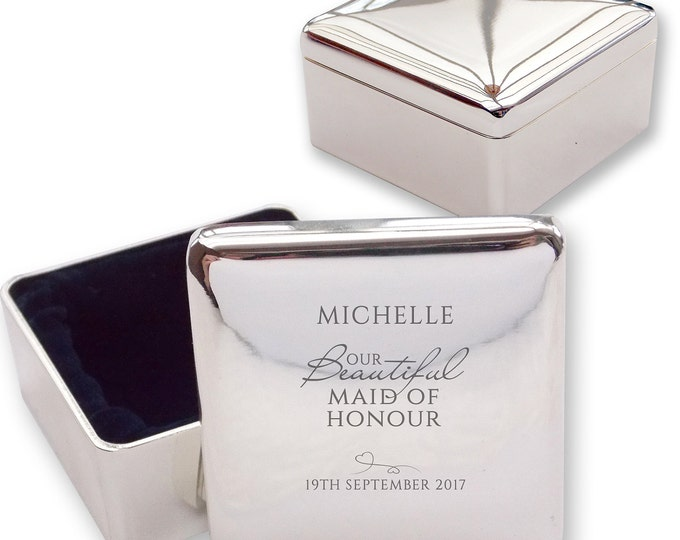 Personalised engraved MAID of HONOUR square shaped trinket box wedding thank you gift idea  - BE3