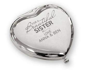 Personalised engraved Beautiful SISTER heart shaped compact mirror birthday christmas gift idea, SILVER plated - BEA4