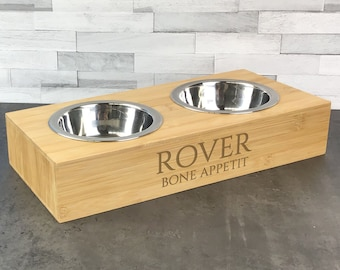 Laser engraved double pet bowl, personalised for small dogs or cats, water and food bowls. Bone appetit DPB-3