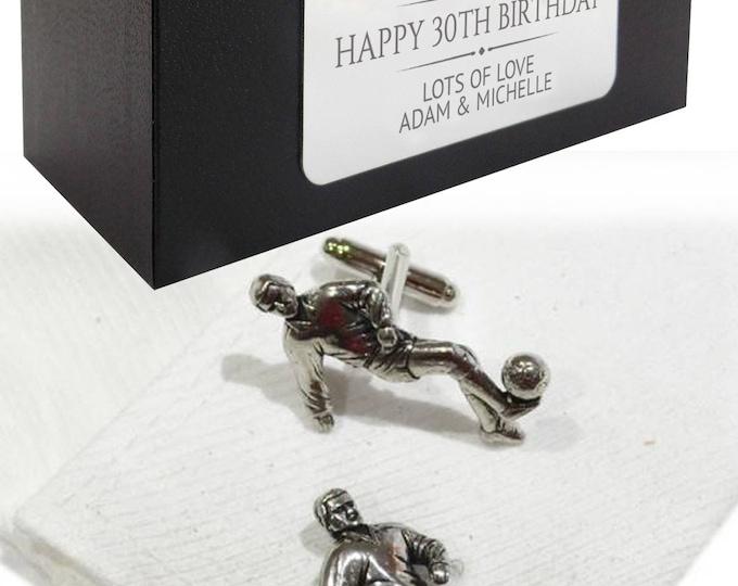 Football player CUFFLINKS gift idea for him, personalised engraved cufflink box - cs04
