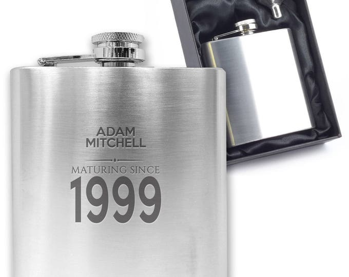 Personalised engraved 18TH BIRTHDAY hip flask gift idea, stainless steel, presentation box, maturing since 1999 - MA18