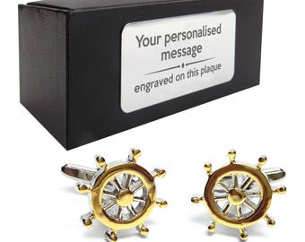 Nautical ships wheel boat themed novelty CUFFLINKS gift, presentation box PERSONALISED ENGRAVED customized plate - 219