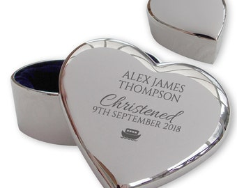Personalised engraved CHRISTENING, BAPTISM trinket box gift idea, silver plated keepsake gift, noahs ark - HT-CHR1