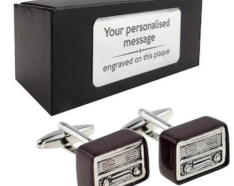 Retro radio wireless novelty CUFFLINKS birthday gift idea, presentation box with PERSONALISED ENGRAVED plate - 955