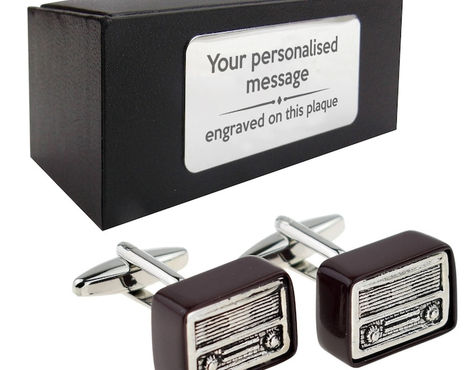 Retro radio wireless novelty CUFFLINKS birthday gift idea, presentation box with PERSONALISED ENGRAVED plate - 955