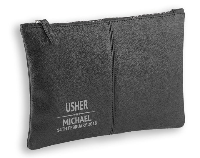 Engraved Usher wedding gift, BLACK LEATHER pu accessory case, tablet, wash bag, toiletry case - AC-WD5