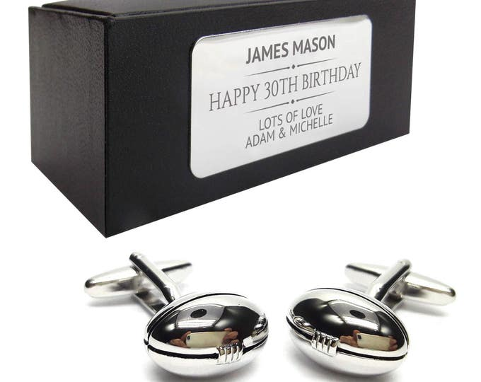 Rugby ball, rugby player CUFFLINKS birthday gift, presentation box PERSONALISED ENGRAVED plate - 183