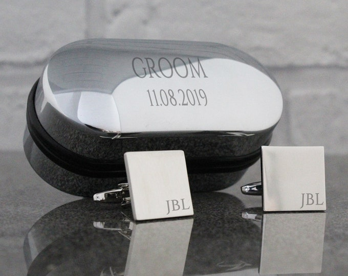 Engraved groom wedding cufflinks, monogram, cuff links, engraved cufflinks box - SQ1-W6