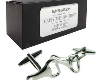 Miniature bottle opener CUFFLINKS 30th, 40th, 50th, 60th, 70th birthday gift, presentation box PERSONALISED ENGRAVED plate - 029