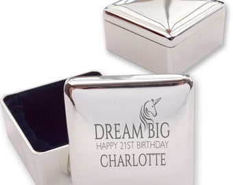 Engraved 21ST BIRTHDAY square shaped trinket box gift, silver plated, unicorn, dream big - UN21
