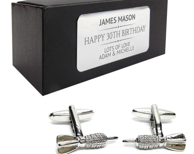 Darts, dart player CUFFLINKS birthday gift, presentation box PERSONALISED ENGRAVED plate - 013