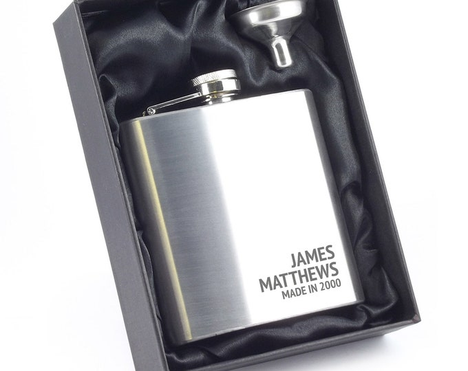 Engraved 18TH BIRTHDAY hip flask personalised gift, stainless steel, presentation box - 6SS_RBD18