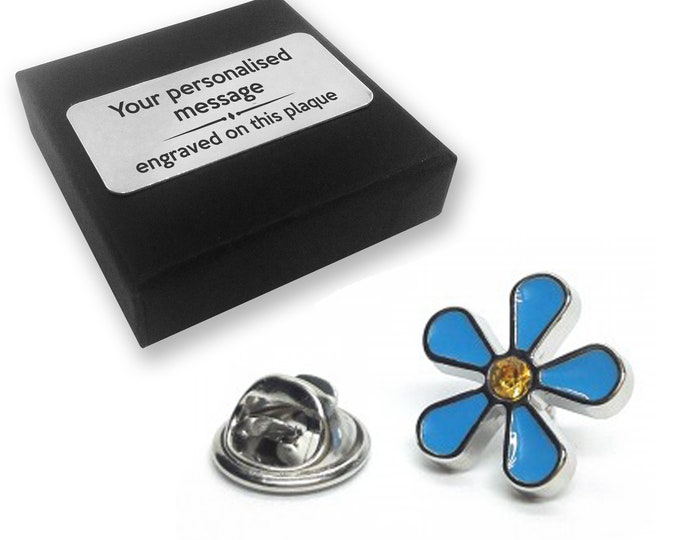 Forget me not, flower, lapel pin badge, tie pin, brooch accessory, boutonniere - personalised engraved gift box - 028