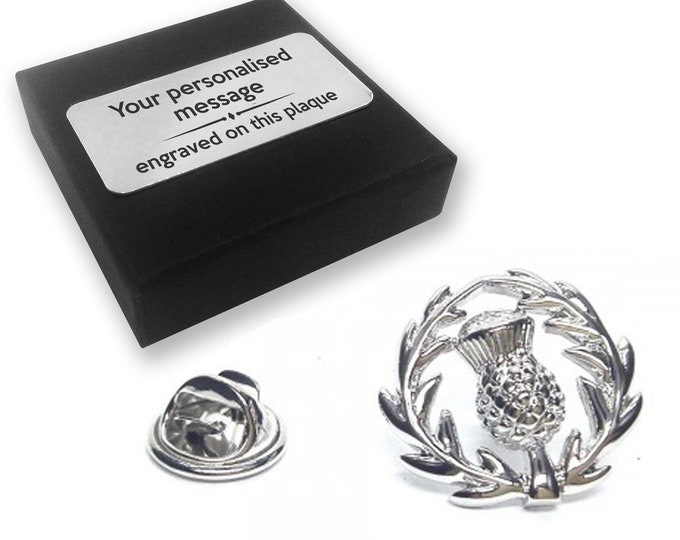 Scottish thistle lapel pin badge, tie pin, brooch accessory, boutonniere - personalised engraved gift box - 054