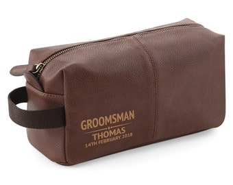 Personalised engraved Groomsman BROWN LEATHER pu washbag, toiletry bag wedding gift - WB-WD4