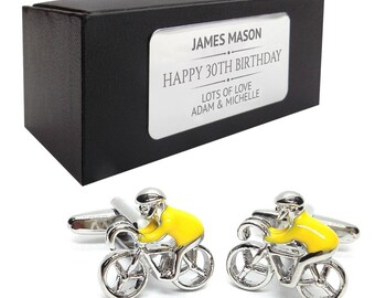 Cyclist bicycle cycle CUFFLINKS birthday gift, presentation box PERSONALISED ENGRAVED plate - 502