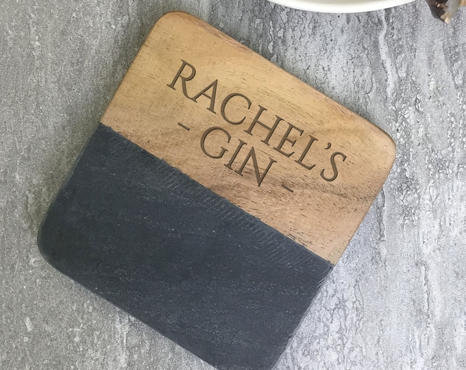 Engraved coaster gift, personalised gift idea, stone & wood drinks mat. Gin whiskey brandy rum beer wine gift  SCOA-4