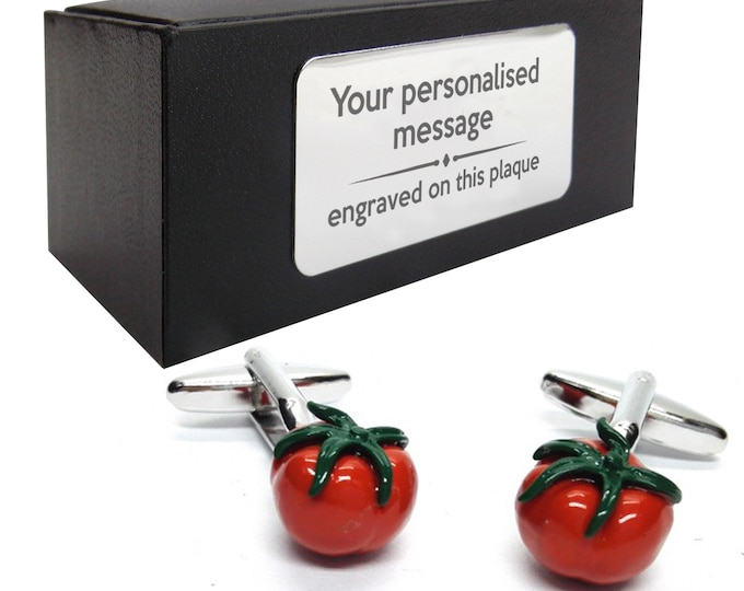 Tomato food chef cookery, cooks, gardener novelty CUFFLINKS gift, presentation box PERSONALISED ENGRAVED plate - 757