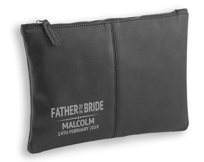 Engraved Father of the Bride wedding gift, BLACK LEATHER pu accessory case, tablet, wash bag, toiletry case - AC-WD2