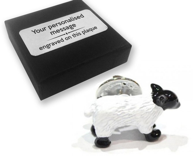 Sheep, farmer, farming, lapel pin badge, tie pin, brooch accessory, boutonniere - personalised engraved gift box - 36