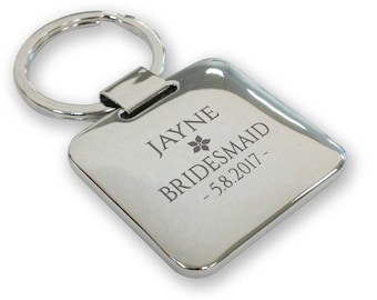 Personalised engraved BRIDESMAID wedding keyring gift, silver plated deluxe pillow square keyring - SQU15