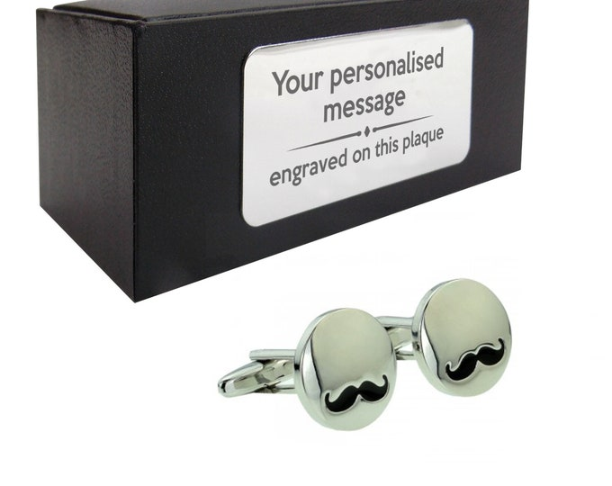 Moustache, hipster, mens novelty CUFFLINKS birthday gift, presentation box Personalised ENGRAVED customized plate - 448m