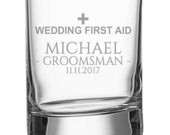 Engraved GROOMSMAN shot glass, personalised glasse, wedding bomboniere wedding favours, wedding first aid - SH-WFA3