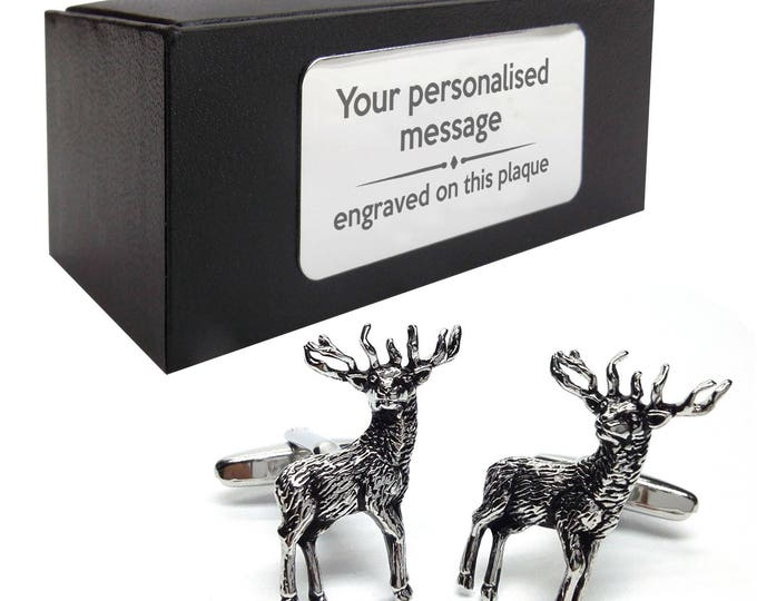 Stag antlers novelty CUFFLINKS gift in a presentation box, personalized customized engraved plate - 870