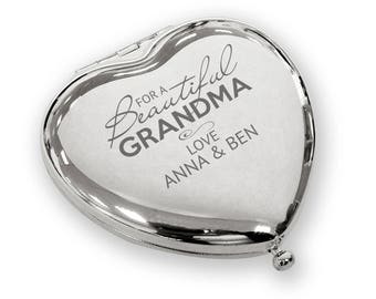 Personalised engraved Beautiful GRANDMA heart shaped compact mirror birthday christmas gift idea, SILVER plated - BEA2