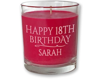 Personalised Engraved 18TH BIRTHDAY Scented Candle Gift Red Glass Votive