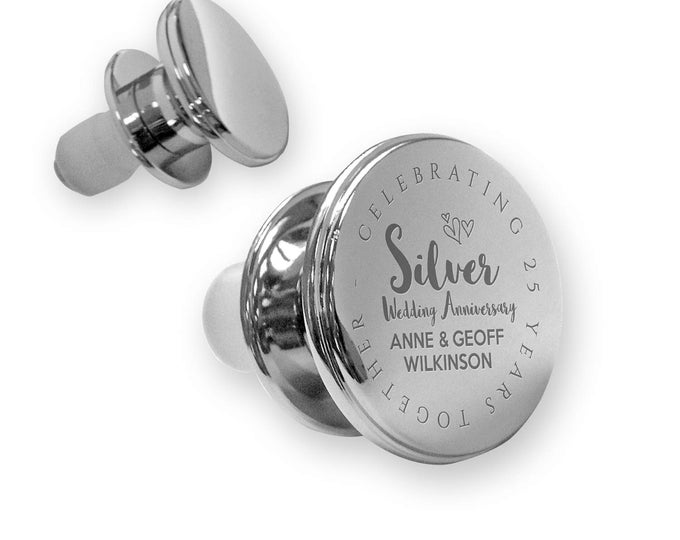 Personalised engraved SILVER 25th wedding anniversary deluxe wine bottle stopper gift idea, mirror polish - ANN25