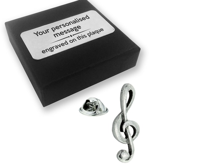 Treble, clef, music, PEWTER, lapel pin badge, tie pin, brooch accessory, boutonniere - personalised engraved gift box - 130