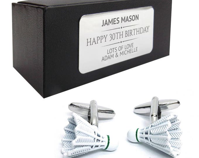 Badminton shuttlecock sports CUFFLINKS birthday gift, presentation box PERSONALISED ENGRAVED plate - 1118