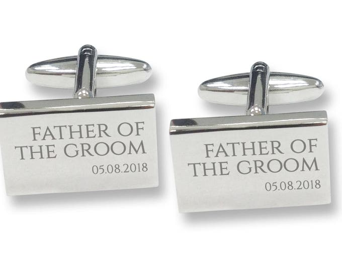 Engraved FATHER of the GROOM rectangle wedding cufflinks, rhodium plated - RED2