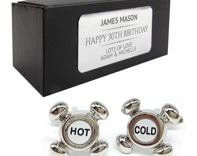 Plumbers hot cold taps CUFFLINKS birthday gift, presentation box PERSONALISED ENGRAVED plate - 087