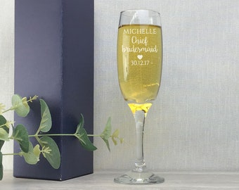 Personalised engraved CHIEF BRIDESMAID glass champagne prosecco wine flute glass wedding thank you gift - EFL-WD2