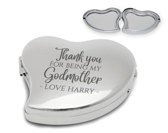Personalised, engraved, GODMOTHER, christening gift, compact mirror, handbag mirror, pocket mirror, chromed metal, butterfly - 9011-GODM1