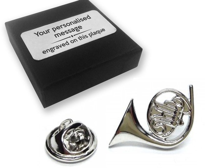 French horn, instrument, music, lapel pin badge, tie pin, brooch accessory, boutonniere - personalised engraved gift box - 492
